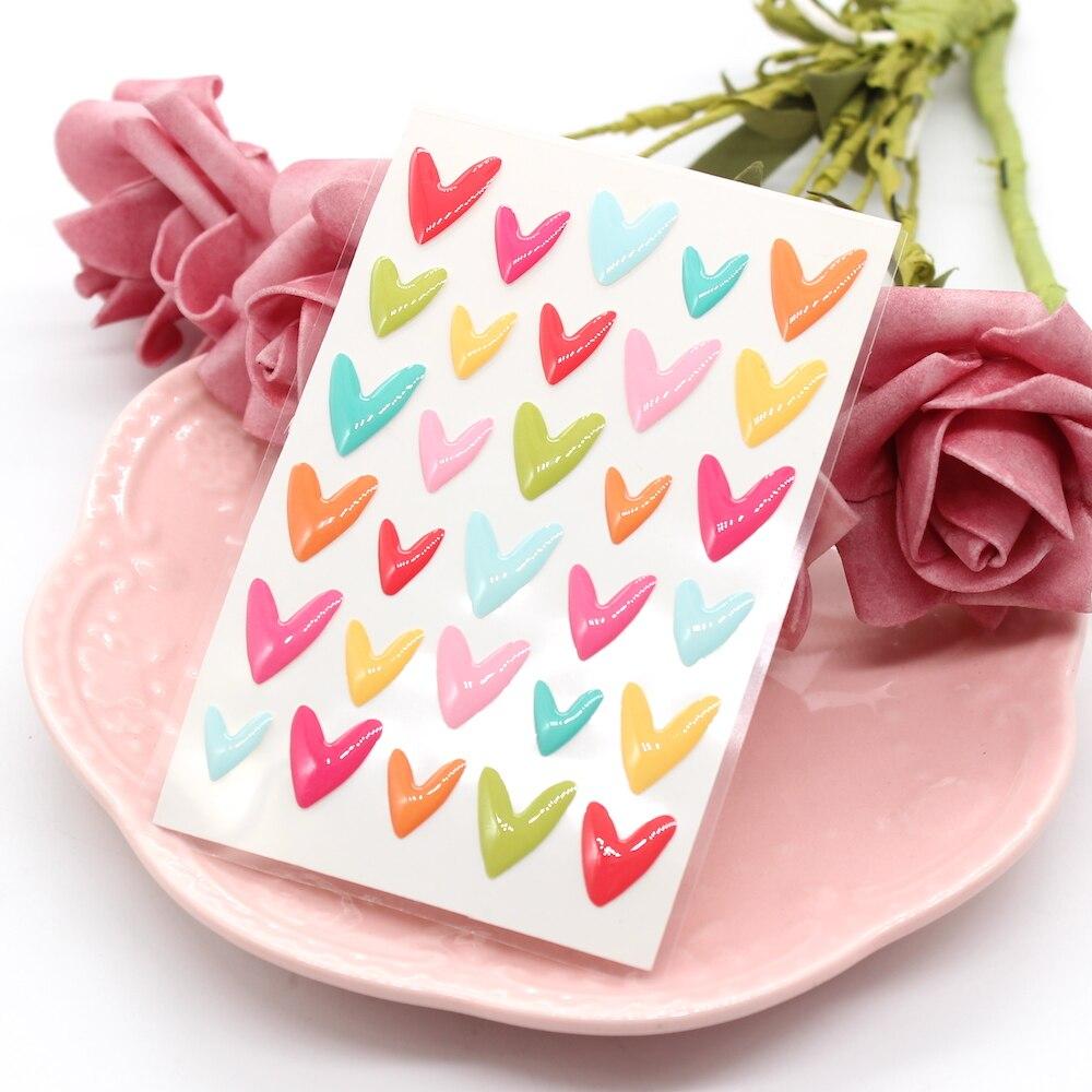 KSCRAFT Vibrant Hearts Sugar Sprinkles Self-adhesive Enamel Dots Resin Sticker For Scrapbooking DIY Crafts Card Making