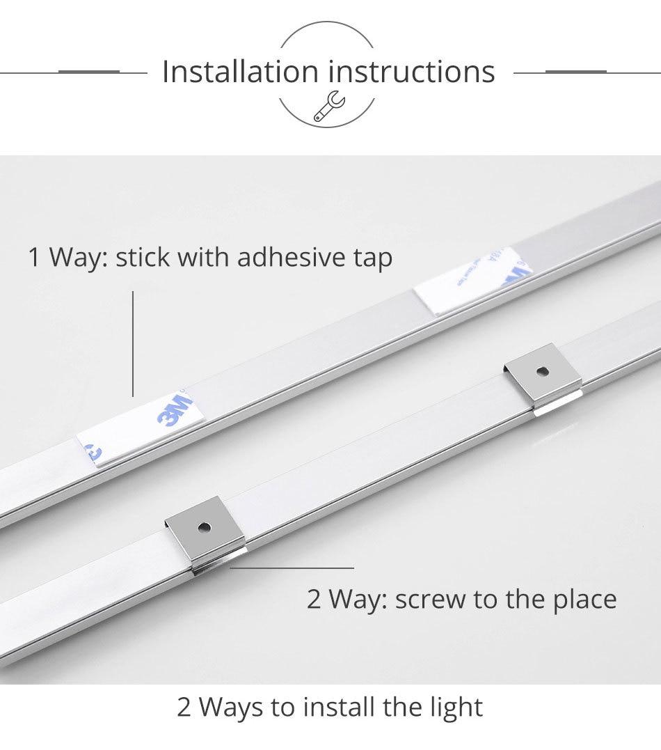 PIR 12V DC Aluminnum LED Under Cabinet Lights BodyLight Sensor Light Kitchen Wardrobe Night Lighting Cabinet Lamps (14)