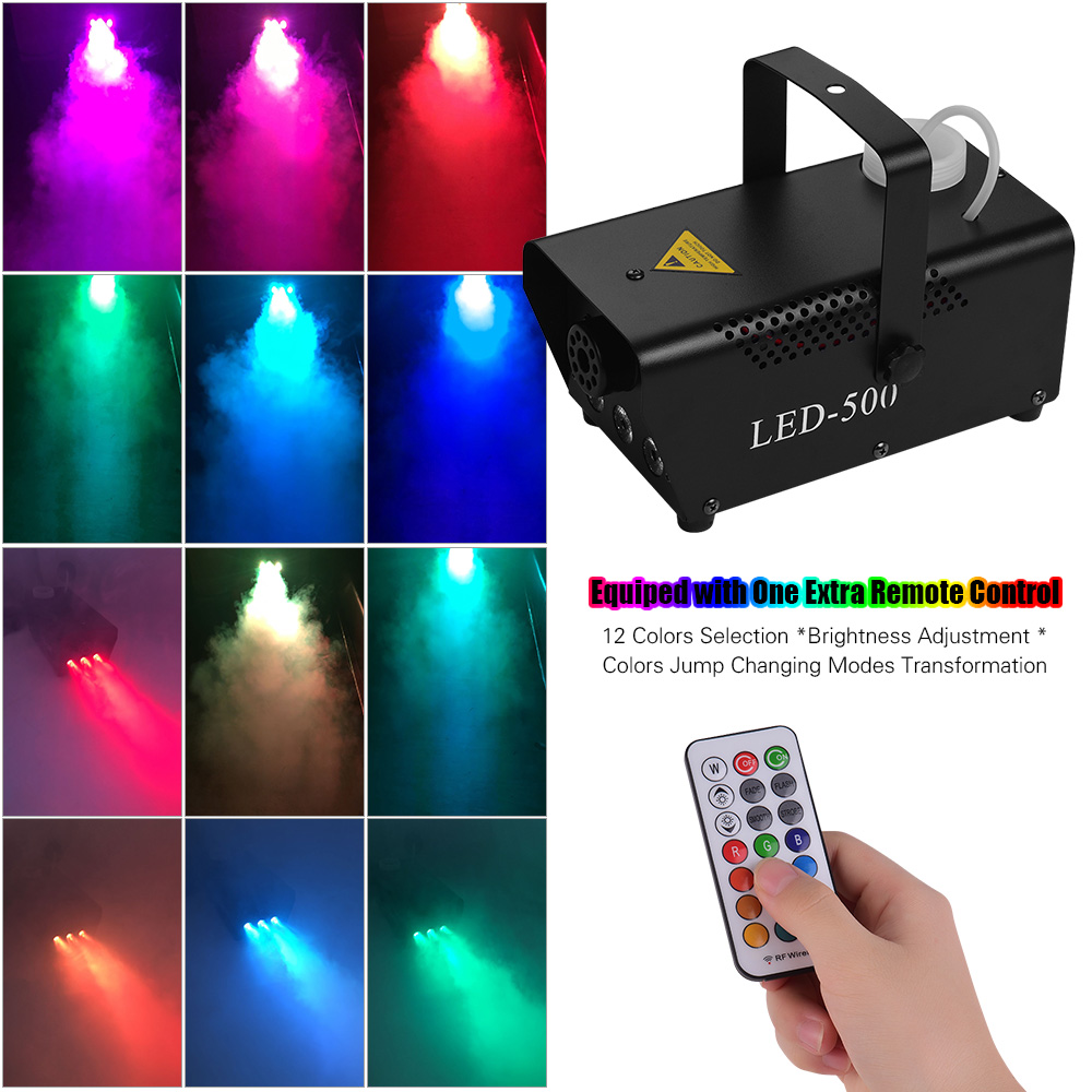 Portable 500W Fogger Wired and Wireless Remote Control Fog Smoke Machine with 12 Colors Selection RGB LED Lightsfor Stage Party Electric Instrument Parts & Accessories    - AliExpress