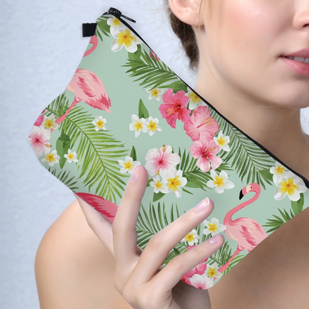 Women Tropical Flamingo Flower Leaves Pen Make Up Cosmetic Bag Travel Supply