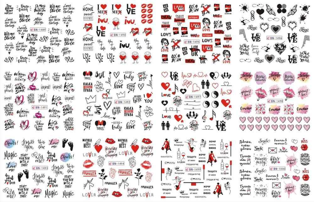 12 Ontwerpen Russische Tekst Nail Water Decals Sexy Lippen Vinger Sexy Meisje Transfer Slider Rusland Woorden Manicure Tattoos Set