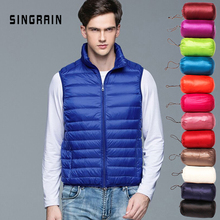 SINGRAIN Men Down Vest Jacket Winter Stand Collar Portable Ultra Thin Lightweight Coat Warm Sleeveless White Duck Down Waistcoat cheap Thick (Winter) REGULAR Casual zipper Full Solid Woven NONE Pockets Zippers NYLON Polyester 100g-150g 0 3kg