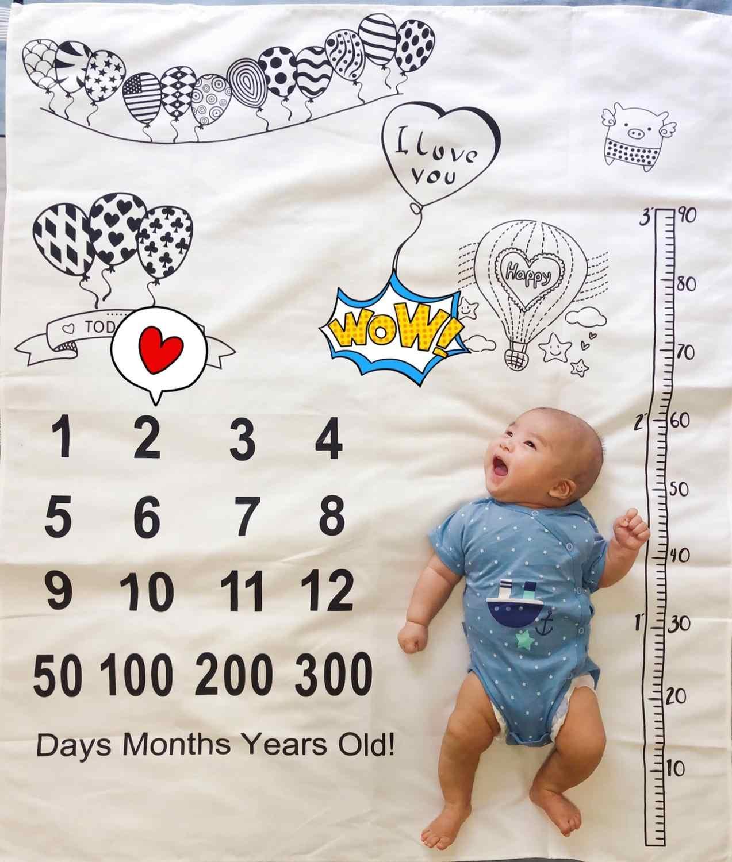 Cobertor infantil Bebê Marco Balão Foto Adereços Fotografia Pano De Fundo Pano Calendário Bebe Menino Menina Acessórios 100x100cm