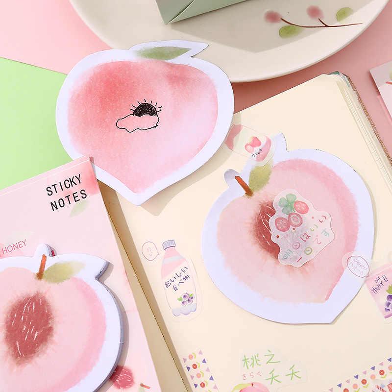 Z0018 Notes autocollantes pêche amovible auto-adhésif Notes PDA décoration créative papeterie mignon pêche fruits fille coeur cahier