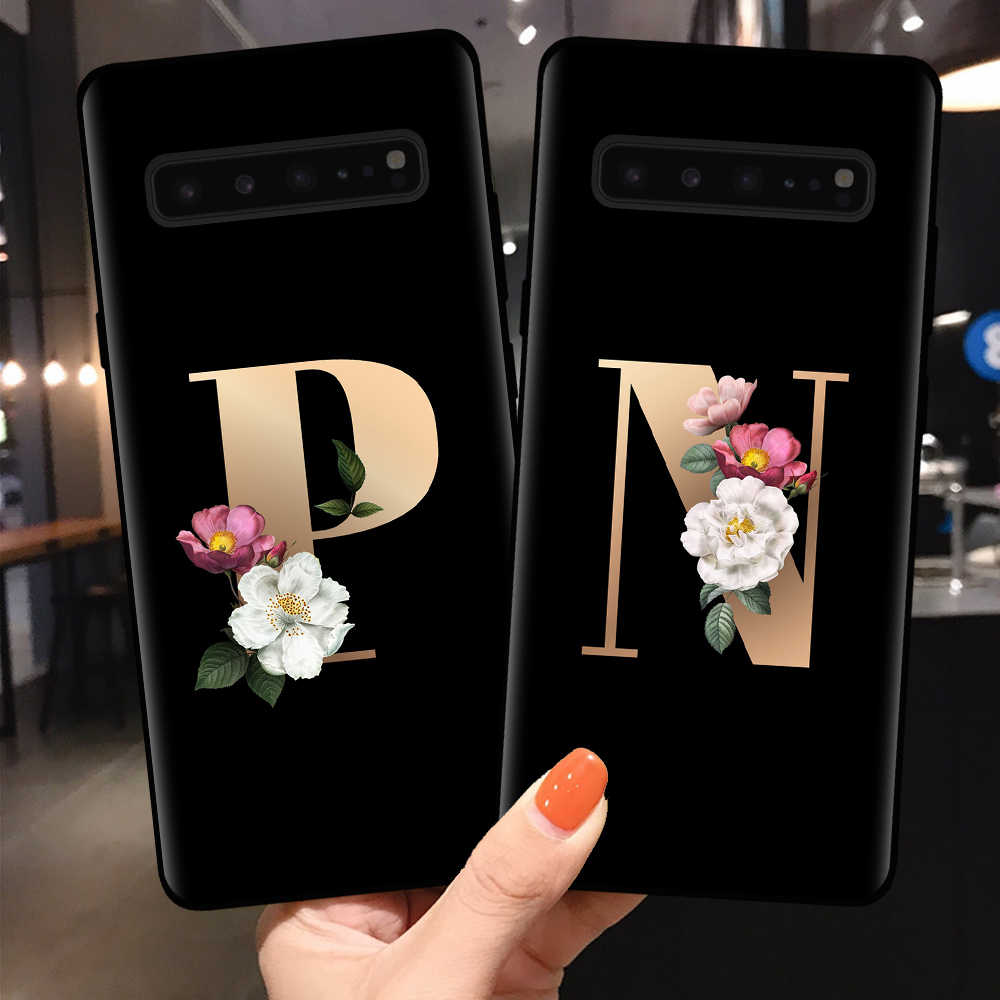 Custom name Letter Monogram flower Matte Silicone Phone Case For Samsung Galaxy S8 S9 S10 Plus Lite S10E Note 10 Pro Back Cover