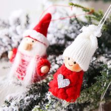 Fashion Cute Creative Christmas Festival Decoration Knitted Wool Doll Pendant Home Party Decoration Gift(China)