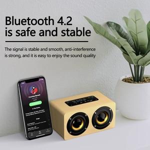 Image 2 - Swalle AUX In Legno Altoparlante Senza Fili del Bluetooth Portatile HiFi Shock Basso Altavoz TF Soundbar per il Telefono Mobile