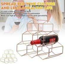 Nordic Style Metal Wine Rack 6 Bottle Wine Holder Vintage Black Metal Wine Rack  Small Wine Rack and Wine Bottle Rack Shelf Gold