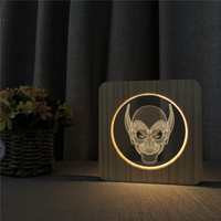 Joker Face 3D LED Arylic Wooden Night Lamp Table Light Switch Control Carving Lamp for Children's Back School Decor Gift