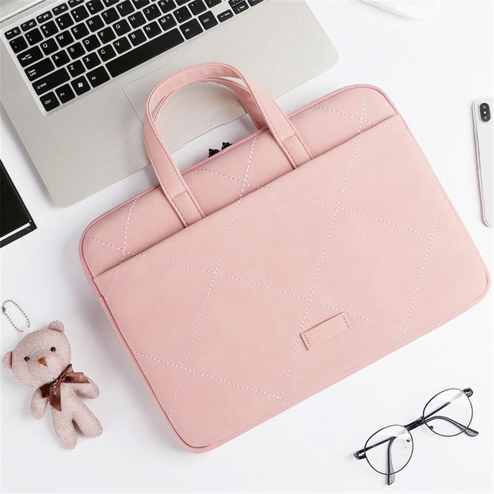 15.6 In Laptop Handdbag For Women Multifunction Waterproof Leather Office Briefcase Simple Business Bag Files Package Shockproof