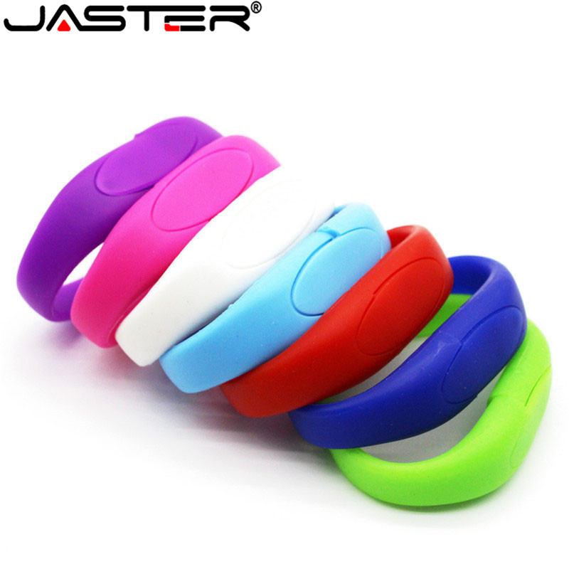JASTER Lucky Silicone Bracelet Pendrive 8GB 16GB 32GB 64GB Usb Flash Drive Pendriver Birthday Gift Memory Stick U Disk 9 Colors