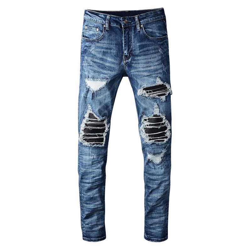 Sokotoo Men's PU leather patchwork ripped biker jeans Patch slim skinny stretch denim pants