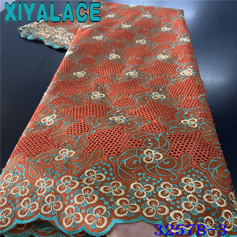 African Lace Fabric 2019 High Quality Lace Embroidery Orange Lace Fabric Swiss Voile Lace In Switzerland Punch Cotton KS3257B