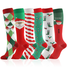 Christmas Compression High Quality Stockings Men Women Pressure Socks Compress Sports Pattern Running Knee Nylon Run