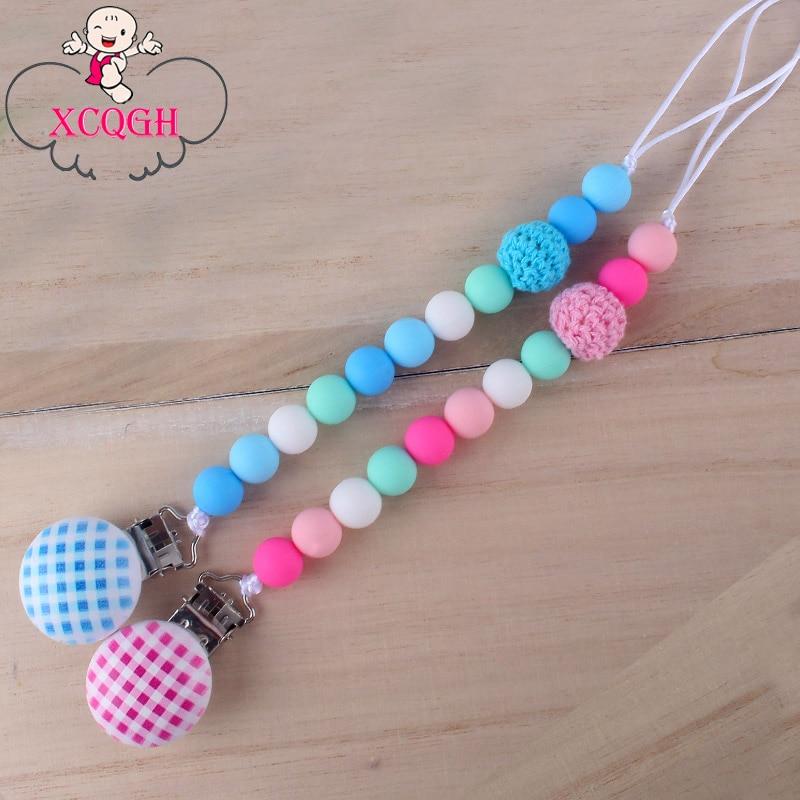 XCQGH Baby Pacifier Chain Clip Molar Silicone Beads Crochet Beads Pacifier Chain Clip