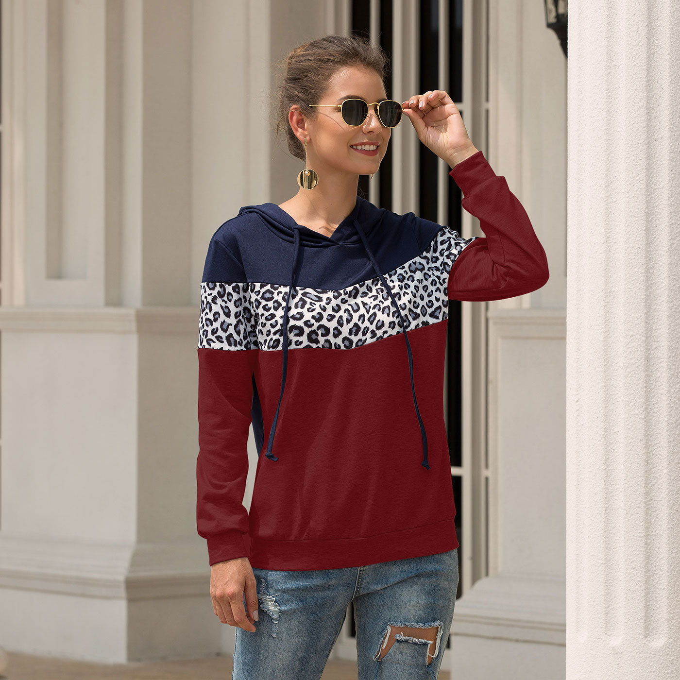 2019 Autumn And Winter New Women's  Jacket With Hooded Shirt Hot Leopard Stitching Hooded Drawstring Women