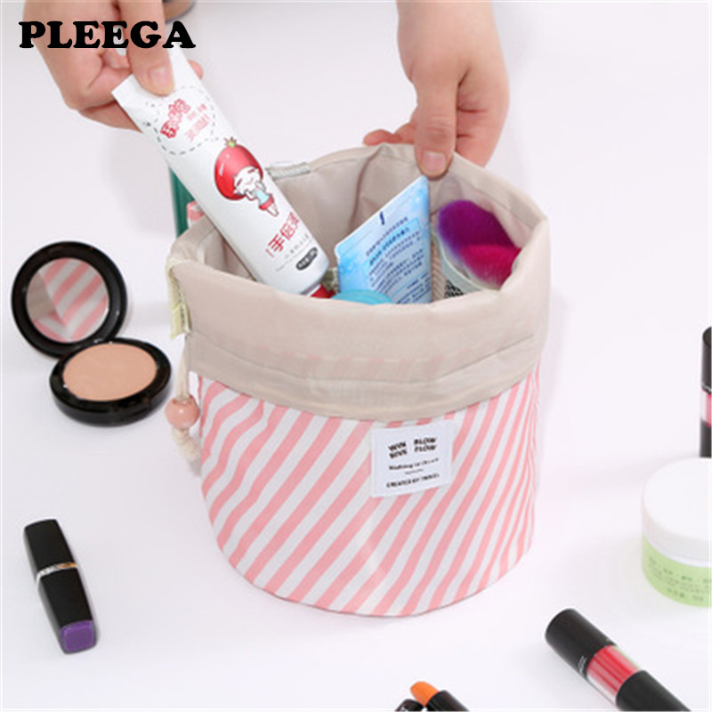 PLEEGA Hot Sale Round Waterproof Makeup Bag Travel Cosmetic Bag Organizer Toiletry Makeup Bags For Women Ladies Box Neceser