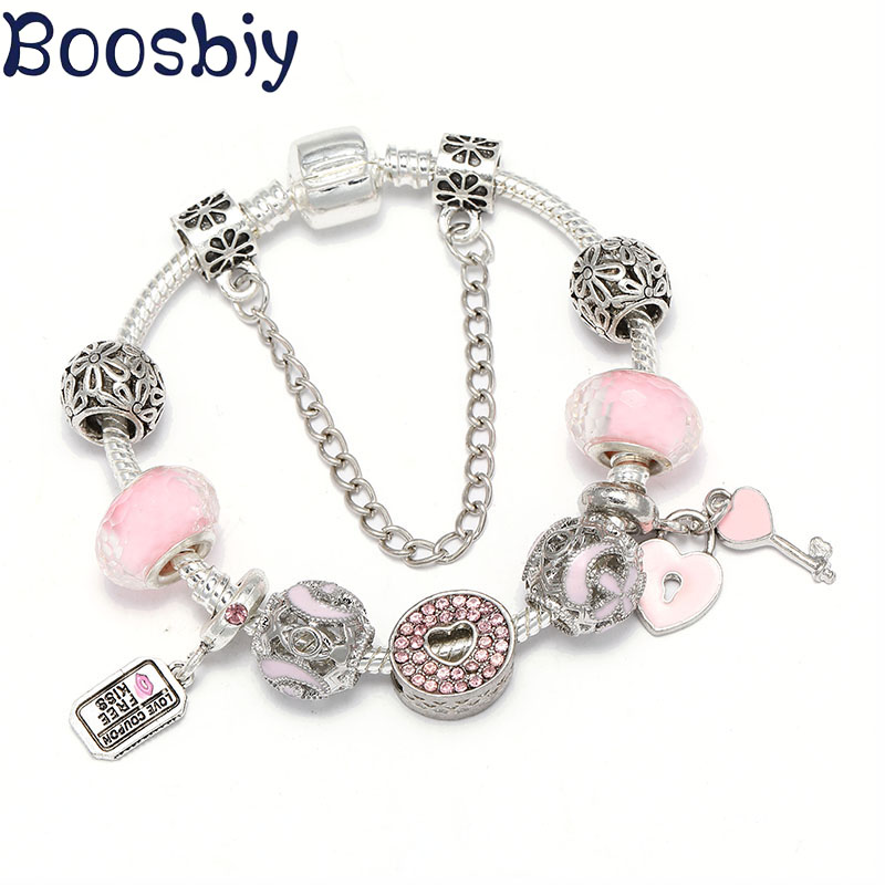 Boosbiy New Arrival Charms Bracelets With Pink Key & Love Voucher Beads Pendants Fit Brand Bracelet Jewelry Gift for Lover