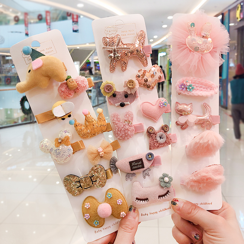 5/8/10Pcs/set Girls Cute Cartoon Rabbit Crown Hair Clips Children Sweet Hairpins Barrettes Lovely Baby Kids Hair Accessories