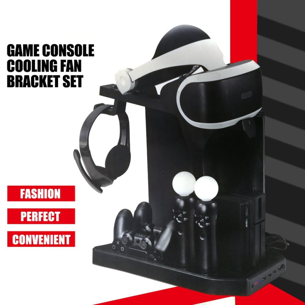 KJH Charger Controller Vertical Stand Gamepad Charging Dock Console Cooler for PS Move for PS4 Slim for PS4 Pro for PSVR PSVR2