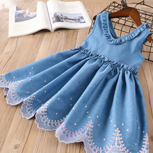 Girls Dresses Brand Kids Princess Dress V-neck Denim Dress Fashion Kids Clothes Pattern Toddler Girls Children Suit 40 girls dresses winter 2016 brand children dress princess costume mode enfant 3d lace swan pattern kids dresses for girls clothes