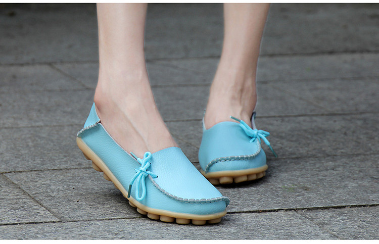AH 911-2019 Spring Autumn Genuine Leather Women Loafers Walking Mother Flats-7