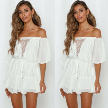 New Womens Boho Style Off Shoulder Lace Short Sleeve Jumpsuit Playsuit Romper Summer Holiday Party Beach Casual Loose Playsuit women summer tie dye print romper elastic waist short sleeve colorblock jumpsuit with pocket stylish loose casual beach playsuit