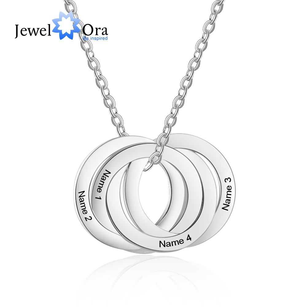 Personalized Name Necklace Sterling Silver Engraving Circle Ring Pendant-Custom Made from 2 to 5 Names