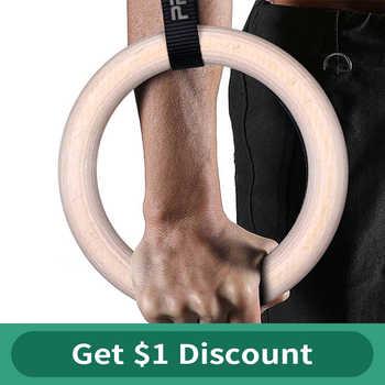 Procircle Holz Gymnastic Ringe 28/32mm Gym Ringe mit Einstellbare Lange Schnallen Riemen Workout Für Home Gym & Kreuz Fitness