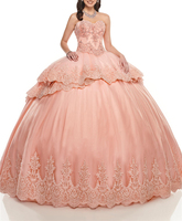 Two Pieces Pink Sweetheart Neckline Appliques Beading Crystals Multi Layers Quinceanera Dresses quinceanera dresses ball gown