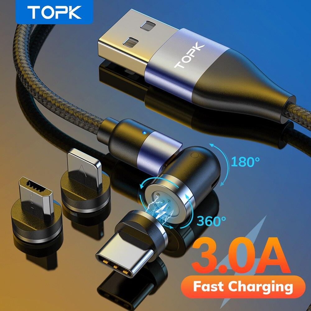 TOPK 540 ° Magnetische Kabel 3A Schnelle Lade Micro USB Typ C Kabel Magnetische Ladegerät Kabel Für iPhone 11 12 pro Max Xiaomi Samsung