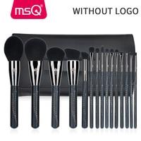 MSQ 15pcs Pro Makeup Brushes Set Eyeshadow Foundation Powder Make Up Brushes Set Synthetic Hair With PU Leather Case No Logo