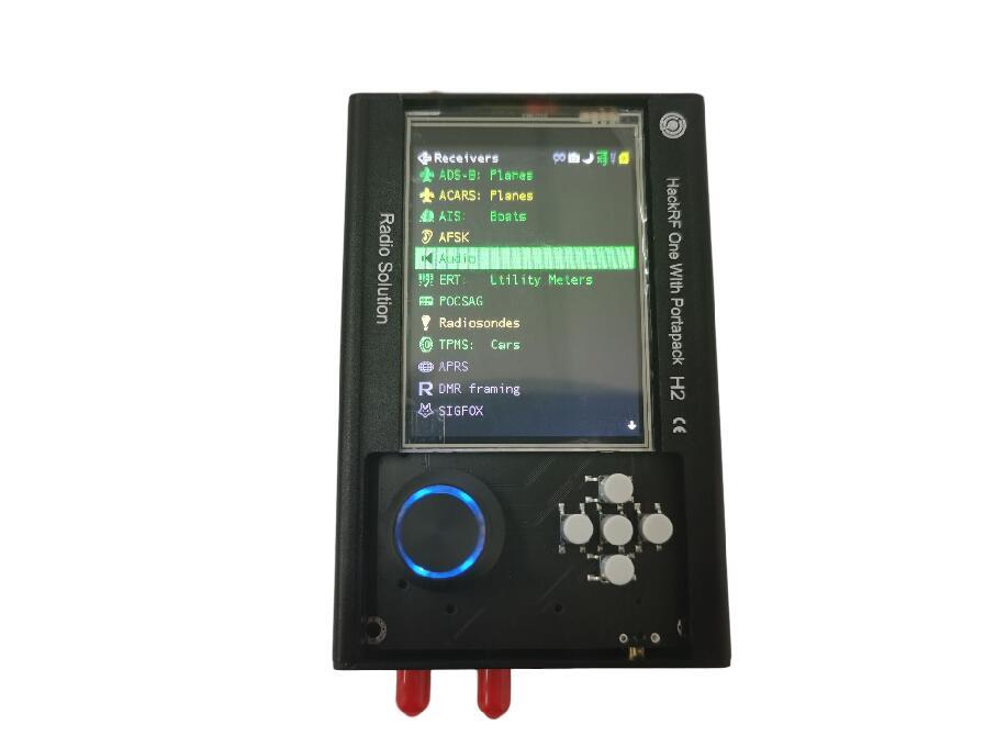 Bateria + Caixa de Metal h2 + Hackrf Sdr com Firmware de Destruição + 0.5ppm Gps + 3.2 Lcd + 1500 Portapack Rádio Tcxo Polegada Toque Mah um