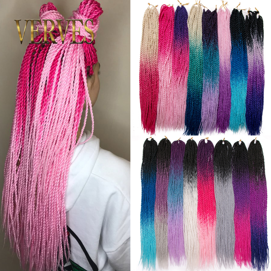 VERVES 24 Inch Ombre Senegalese Twist Hair 1 Pack Crochet Braids 30 Roots/pack Synthetic Braiding Hair For Women Grey,bonde