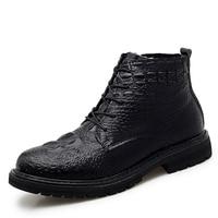 2021Winter Men's Genuine Leather Plus Velvet Warm Crocodile Pattern Casual Shoes Convenient Lace-up Zipper Design Black Sneakers 1