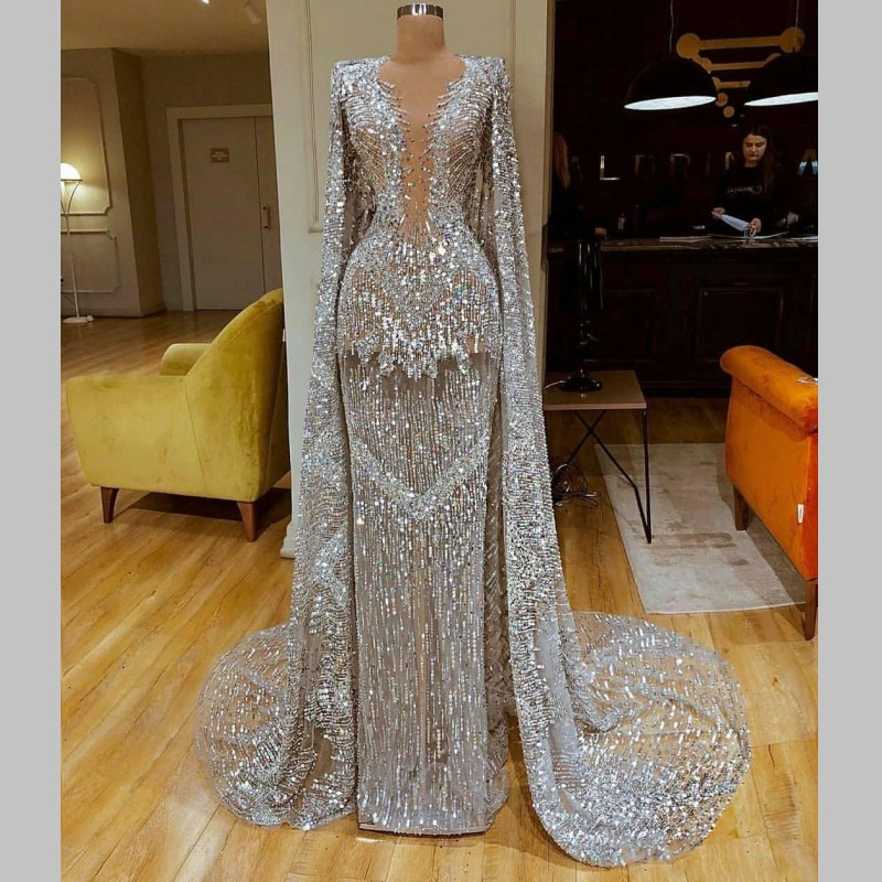 Sparkly Major Beading Mermaid Prom Dresses With Shawls Luxury Silver Sequined Beads Mermaid Evening Dress Sexy Red Carpet Dress