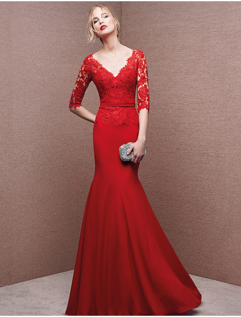2018 Sexy V-back Vestidos Red Chiffon Lace Mermaid Evening Half Sleeve Appliques Formal Prom Gown Mother Of The Bride Dresses