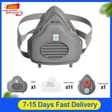 Пылезащитная маска POWECOM 3700, респиратор, полумаска для лица, фильтр, хлопковая розетка, защитная маска для лица, защита от пыли