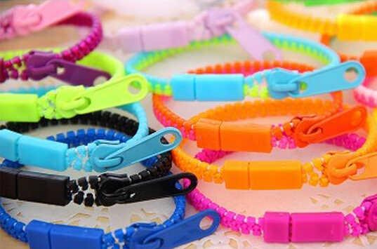 2019 Mới huỳnh quang màu sắc cầu vồng Cấp Độ cá tính dây kéo vòng tay dành cho nữ trang sức Bán Buôn