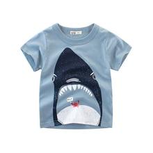 Summer Baby Boys Cartoon Shark Tops T-Shirt Cotton Animal Print Children Cute Kids Clothing For 2-10 Year