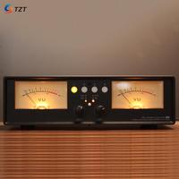 TZT VU2 D/L LED Version/Bulb Version MIC+LINE Dual VU Meter Audio Splitter Box 4 Way Switcher Sound Level Indicator