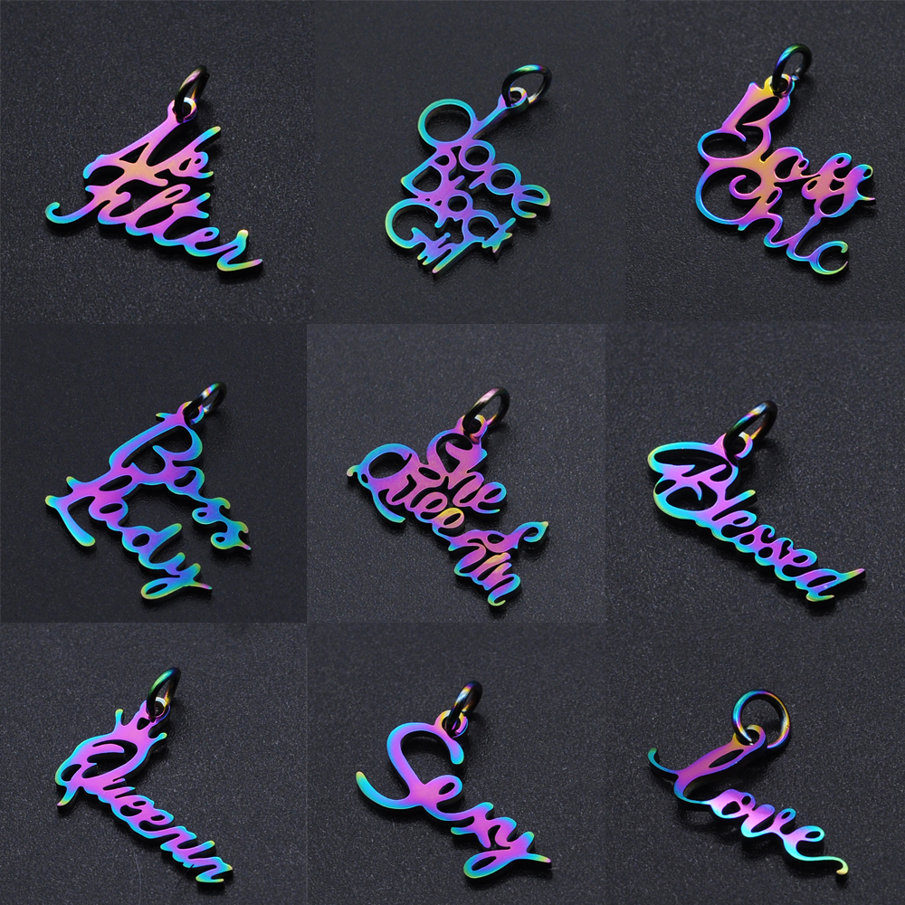 10pcs/Lot Stainless Steel Rainbow Color Believe Love Princess Word Small Charms Pendants for DIY Jewelry Making Accessories