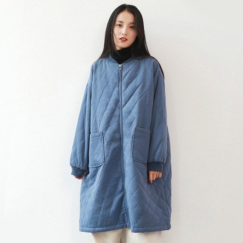 Hiver 2019 nouveau parka vestes de base femmes longs lâche manteaux coton veste femmes simple solide vêtements de couleur manteau femme