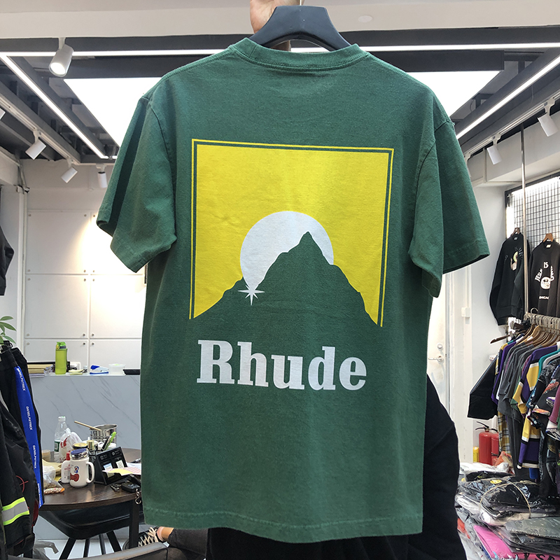 RHUDE T-shirt Men Women T-shirts 2020 New Casual Rh Hairstyle Image Logo Print Rhude Tee High Quality Summer Spring Tops