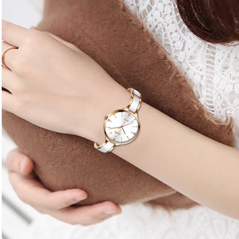 SUNKTA الفاخرة هدية ساعة كريستال المرأة مقاوم للماء ارتفع الذهب الصلب حزام السيدات ساعات المعصم العلامة التجارية الأعلى ساعة Relogio Feminino