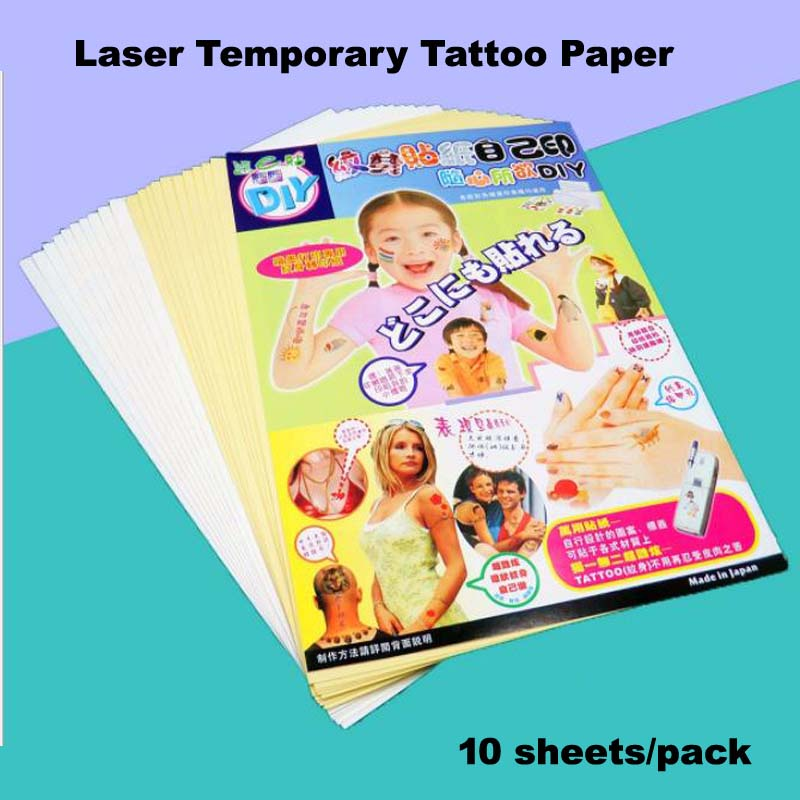 Inkjet Laser Temporary Tattoo Transfer Paper A4 Size White And Fake Tattoo Men Waterproof Temporary Henna Tattoos DIY Art