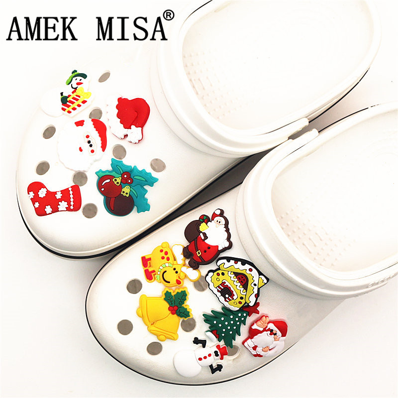 Single Sale 1Pcs Shoe Charms Novelty Christmas Shoe Accessories Halloween Shoe Buckle Decoration For Croc Jibz Kids Party X-mas