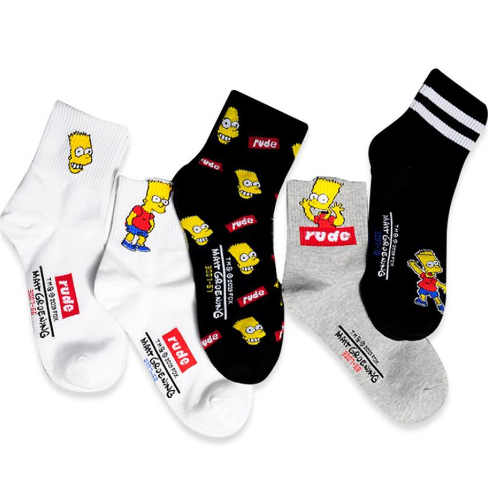 Boutique Socks Cotton Cartoon Funny Hip Hop Middle Tube Socks Neutral College Style Personality Pattern Street Trend Cotton Sock