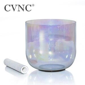 """Image 1 - CVNC 7 """"432 Гц 4 октавная серая прозрачная кварцевая Хрустальная Поющая чаша с космичессветильник том"""