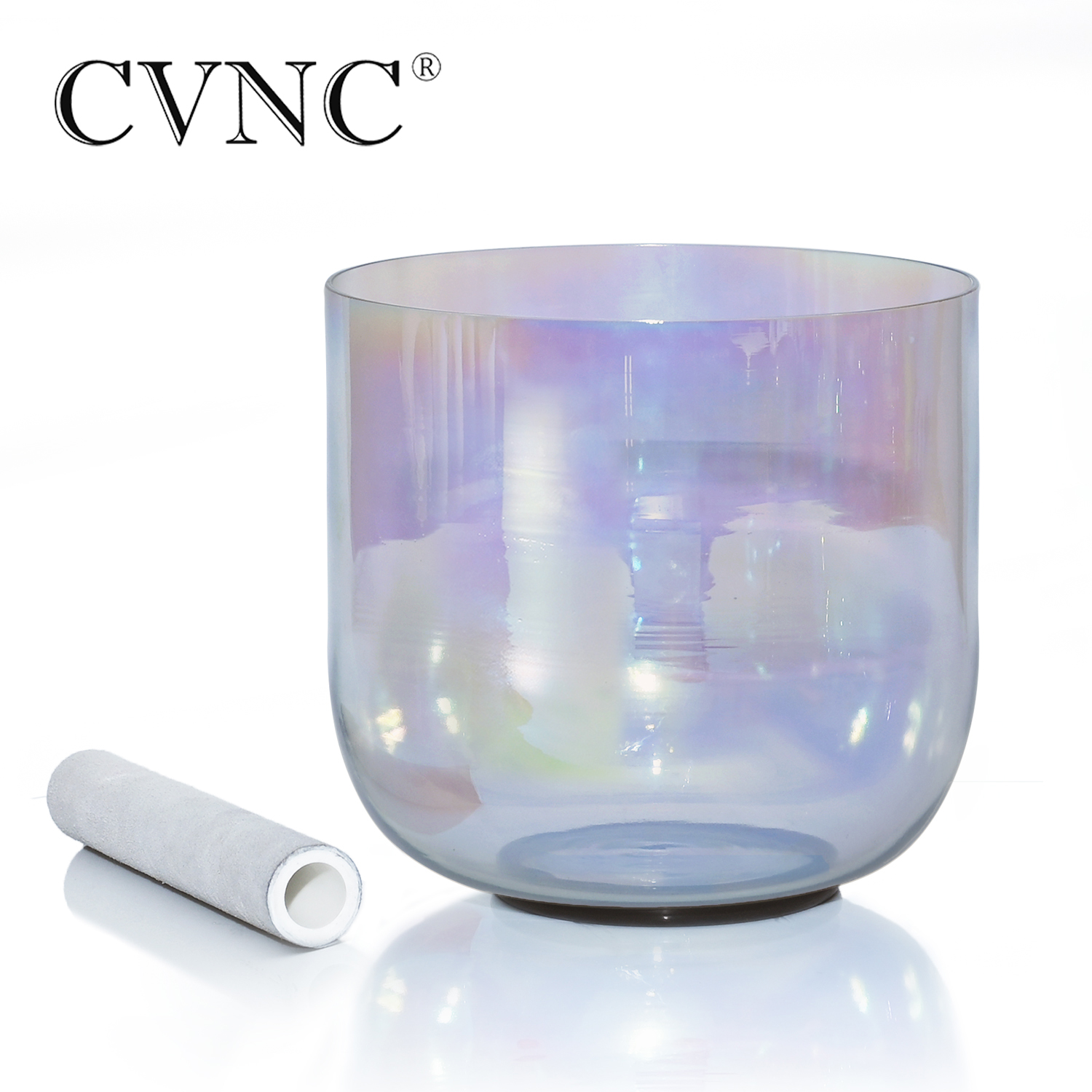 "CVNC 7"" 432Hz 4 octave Gray Clear Quartz Crystal Singing Bowl with Cosmic LightBells & Chimes   -"